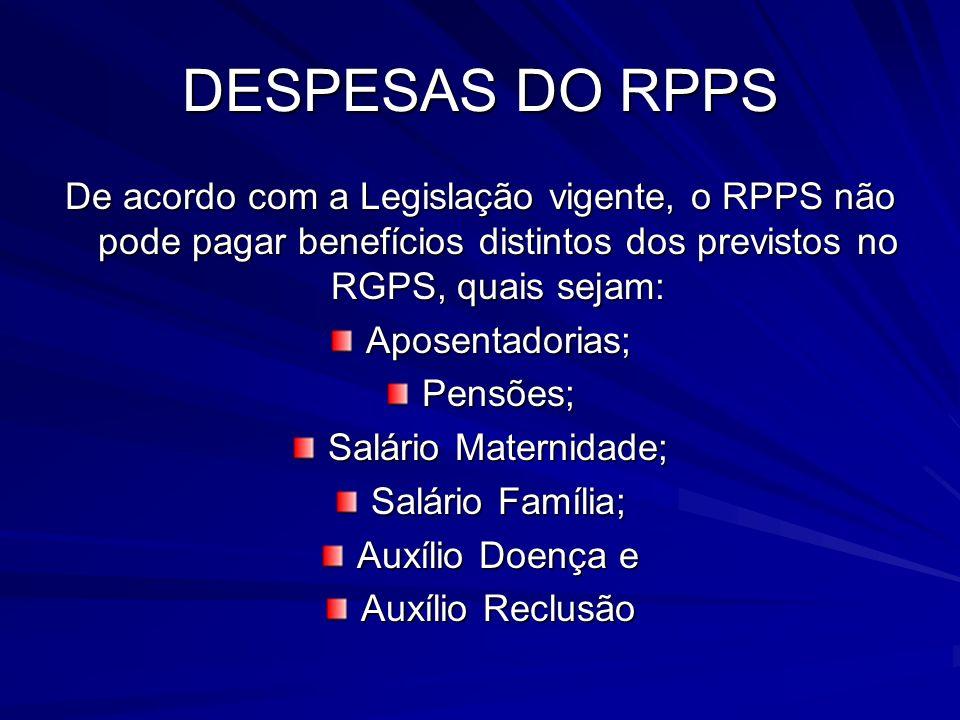 DESPESAS DO RPPS De acordo com a Legislação vigente, o RPPS não pode pagar benefícios distintos dos previstos no RGPS, quais sejam: