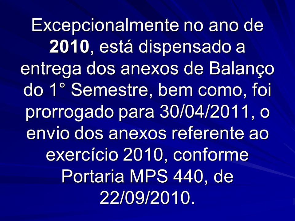 Excepcionalmente no ano de 2010, está dispensado a entrega dos anexos de Balanço do 1° Semestre, bem como, foi prorrogado para 30/04/2011, o envio dos anexos referente ao exercício 2010, conforme Portaria MPS 440, de 22/09/2010.