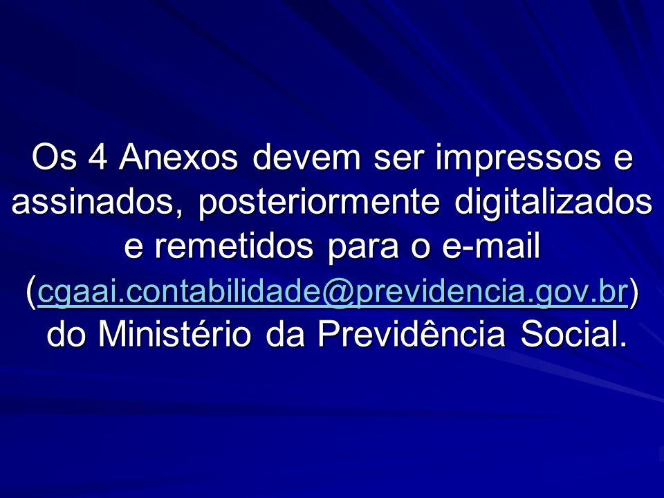 Os 4 Anexos devem ser impressos e assinados, posteriormente digitalizados e remetidos para o e-mail (cgaai.contabilidade@previdencia.gov.br) do Ministério da Previdência Social.