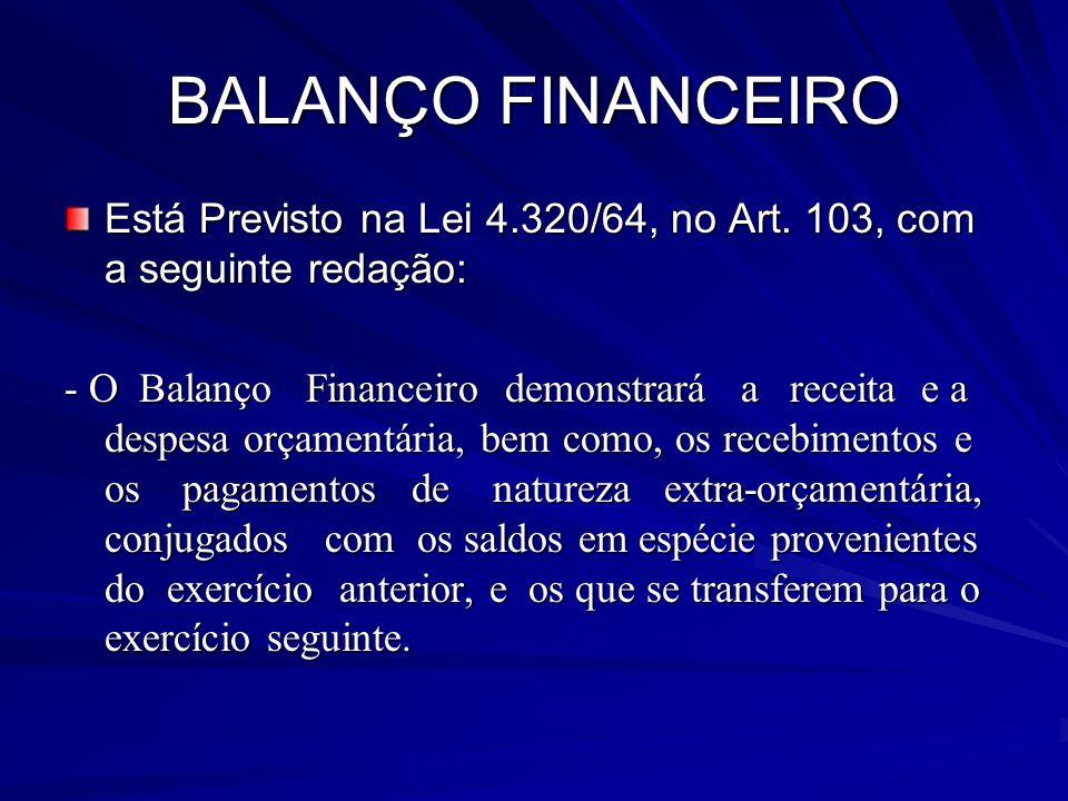 BALANÇO FINANCEIRO Está Previsto na Lei 4.320/64, no Art. 103, com a seguinte redação: