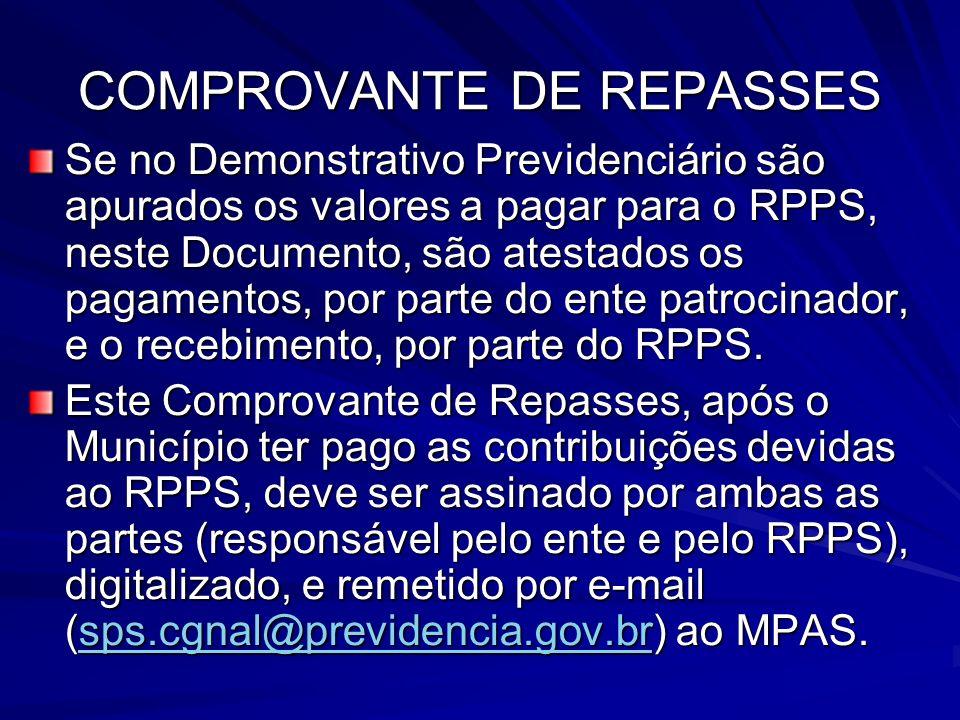 COMPROVANTE DE REPASSES