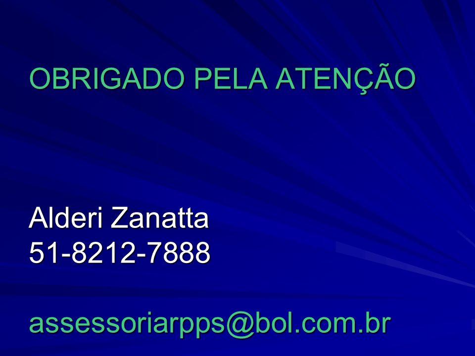 OBRIGADO PELA ATENÇÃO Alderi Zanatta 51-8212-7888 assessoriarpps@bol