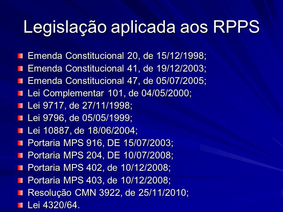 Legislação aplicada aos RPPS
