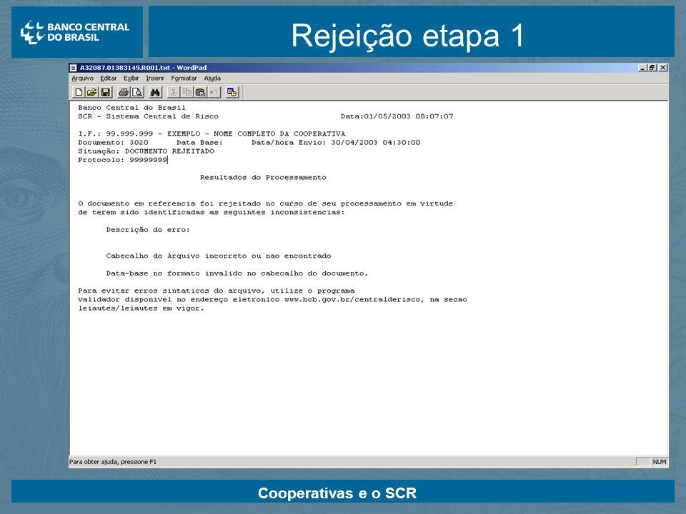 Rejeição etapa 1 Cooperativas e o SCR