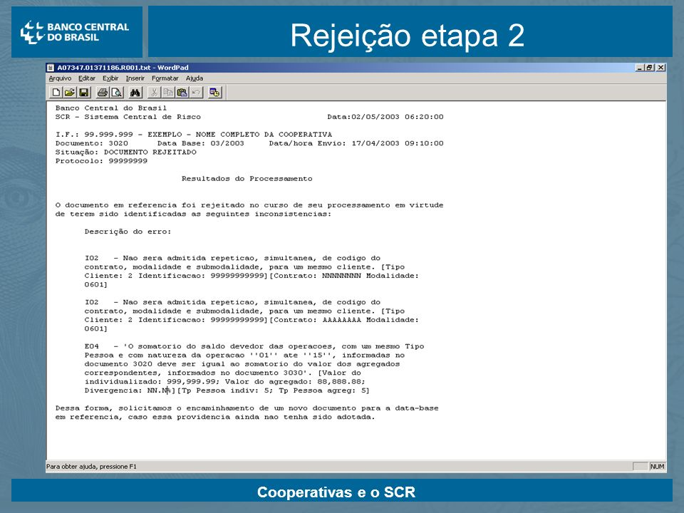 Rejeição etapa 2 Cooperativas e o SCR