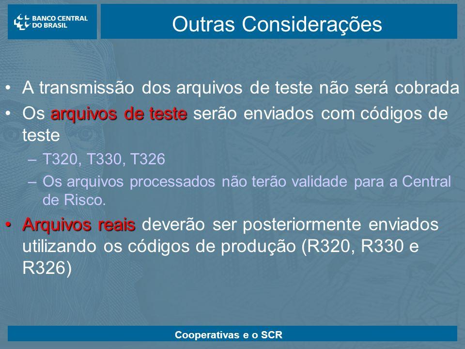 Outras Considerações A transmissão dos arquivos de teste não será cobrada. Os arquivos de teste serão enviados com códigos de teste.
