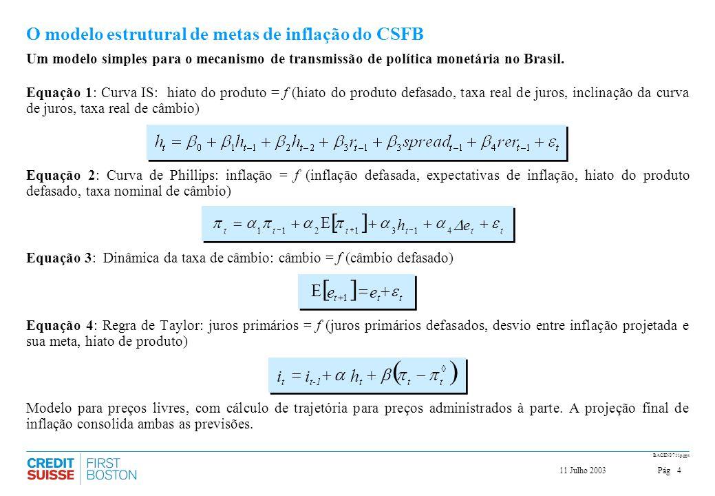 O modelo estrutural de metas de inflação do CSFB