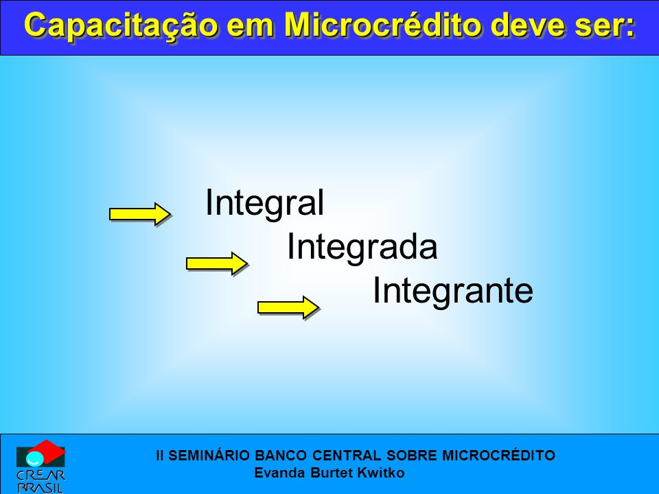 Capacitação em Microcrédito deve ser: