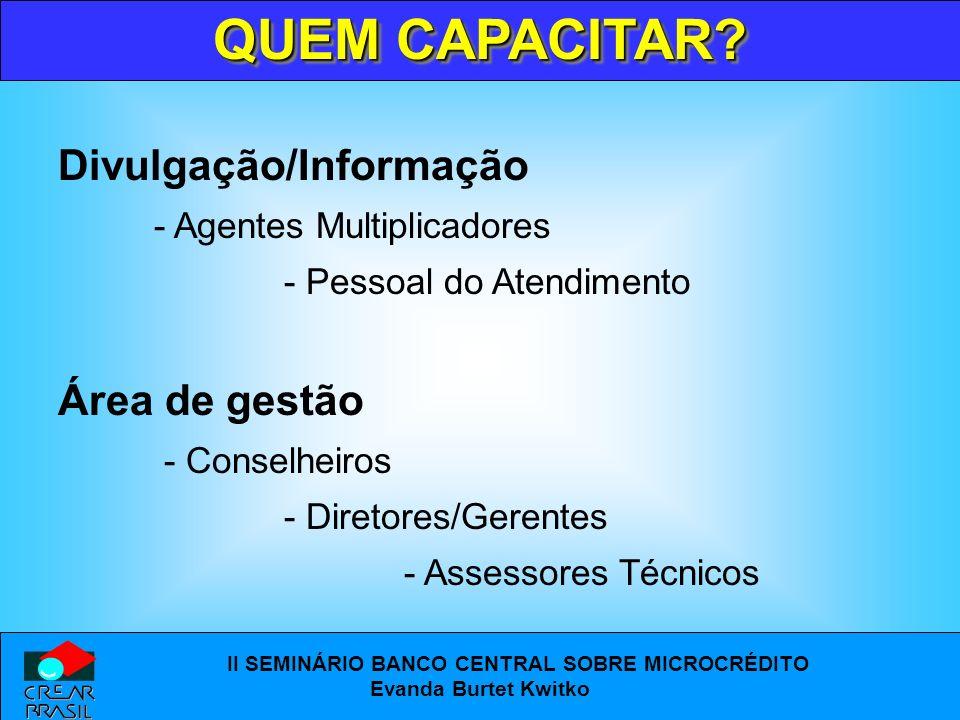 QUEM CAPACITAR Divulgação/Informação Área de gestão