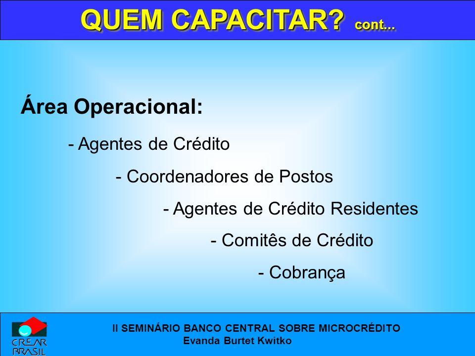 QUEM CAPACITAR cont... Área Operacional: - Agentes de Crédito