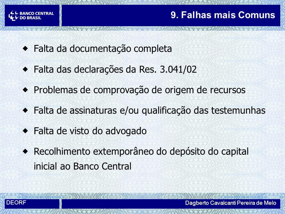 Falta da documentação completa Falta das declarações da Res. 3.041/02