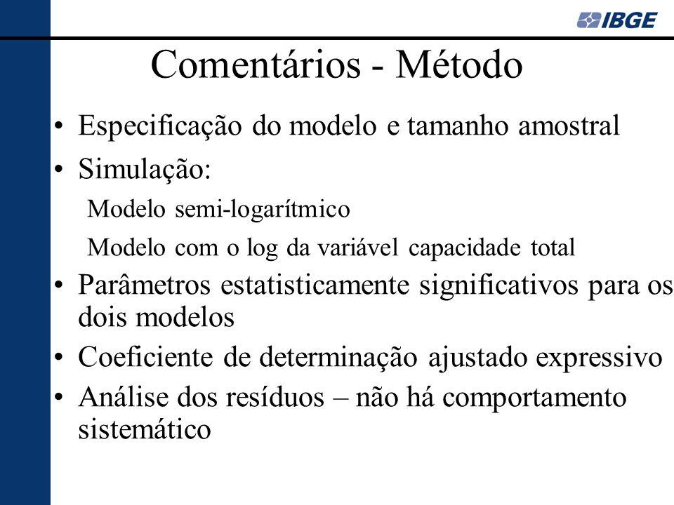 Comentários - Método Especificação do modelo e tamanho amostral