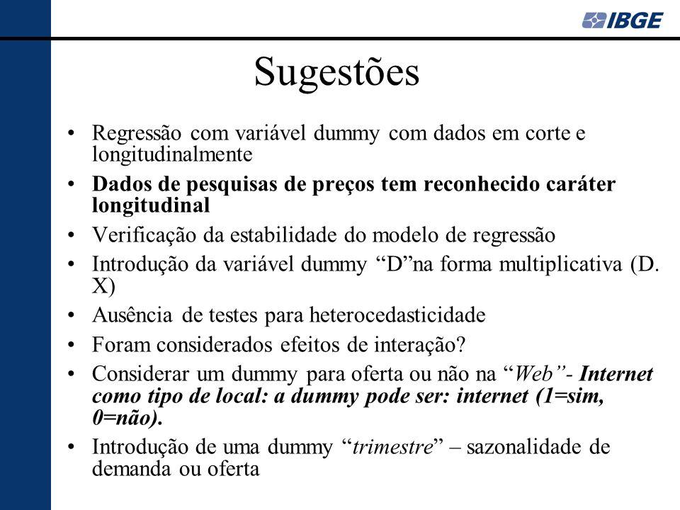 SugestõesRegressão com variável dummy com dados em corte e longitudinalmente. Dados de pesquisas de preços tem reconhecido caráter longitudinal.