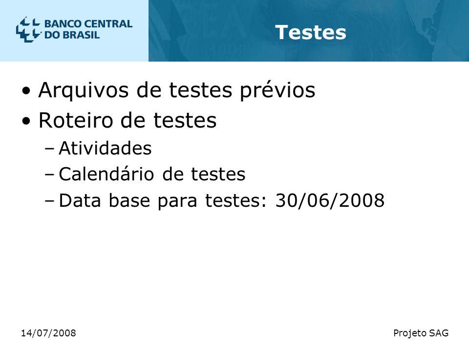 Arquivos de testes prévios Roteiro de testes
