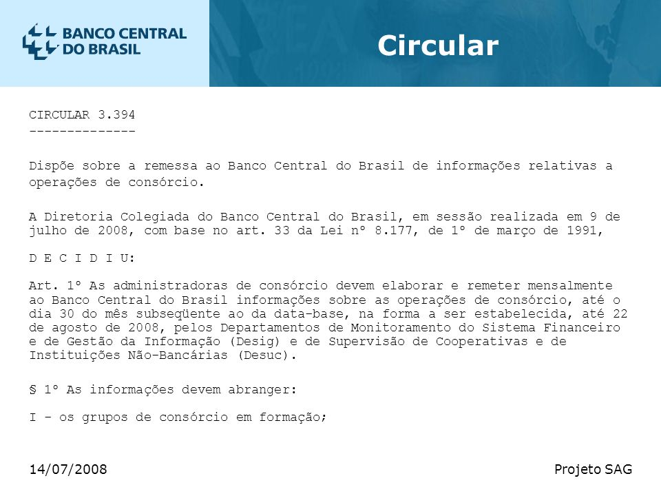 Circular CIRCULAR 3.394 --------------