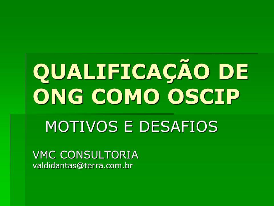 QUALIFICAÇÃO DE ONG COMO OSCIP