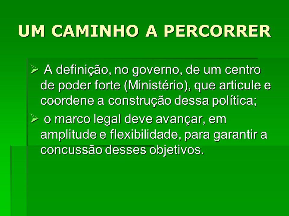 UM CAMINHO A PERCORRER A definição, no governo, de um centro de poder forte (Ministério), que articule e coordene a construção dessa política;
