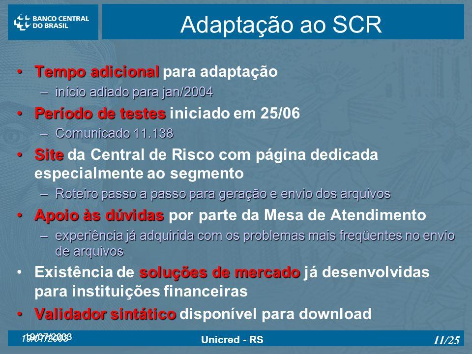 Adaptação ao SCR Tempo adicional para adaptação