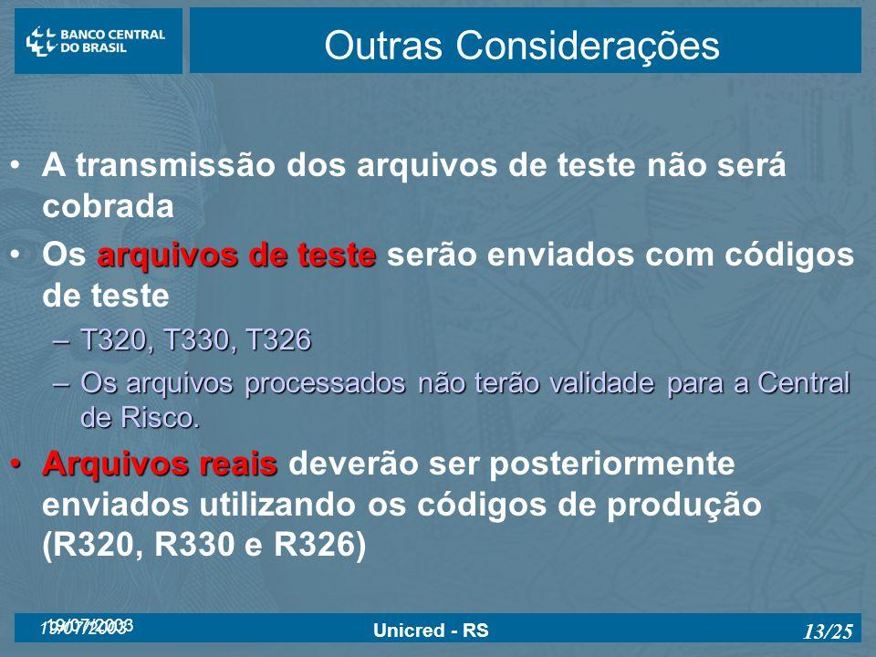Outras ConsideraçõesA transmissão dos arquivos de teste não será cobrada. Os arquivos de teste serão enviados com códigos de teste.