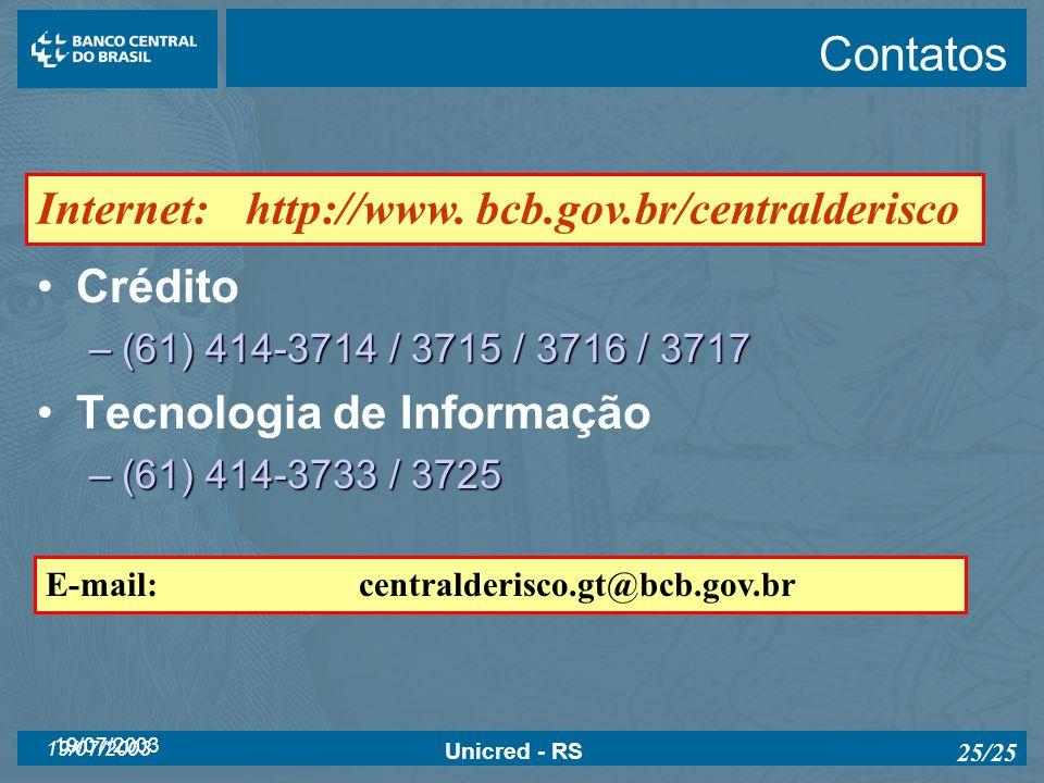 Contatos Internet: http://www. bcb.gov.br/centralderisco Crédito