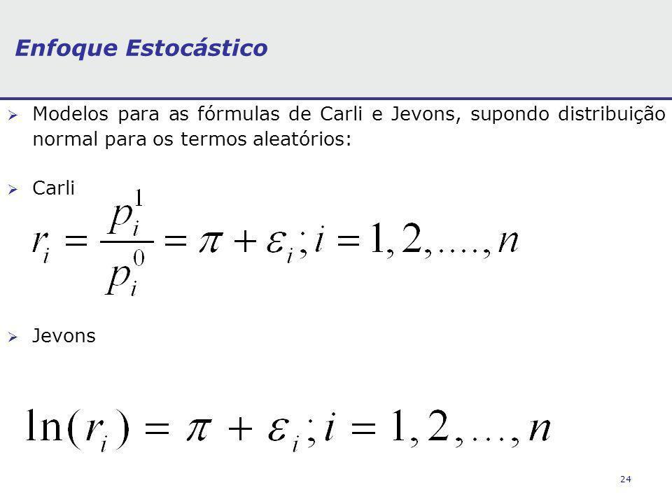 Enfoque Estocástico Modelos para as fórmulas de Carli e Jevons, supondo distribuição normal para os termos aleatórios: