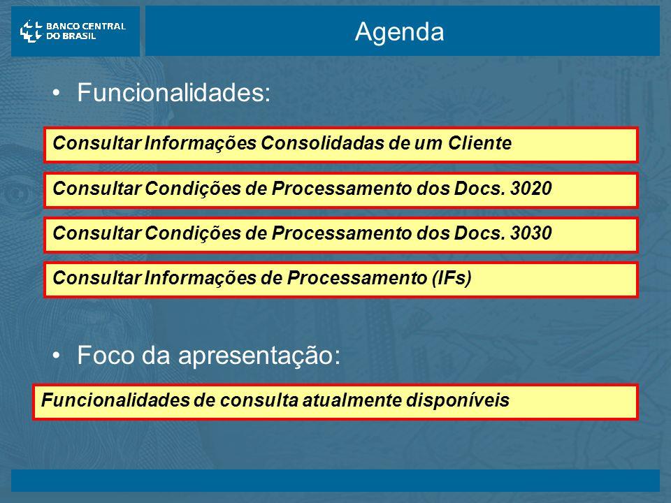 Agenda Funcionalidades: Foco da apresentação: