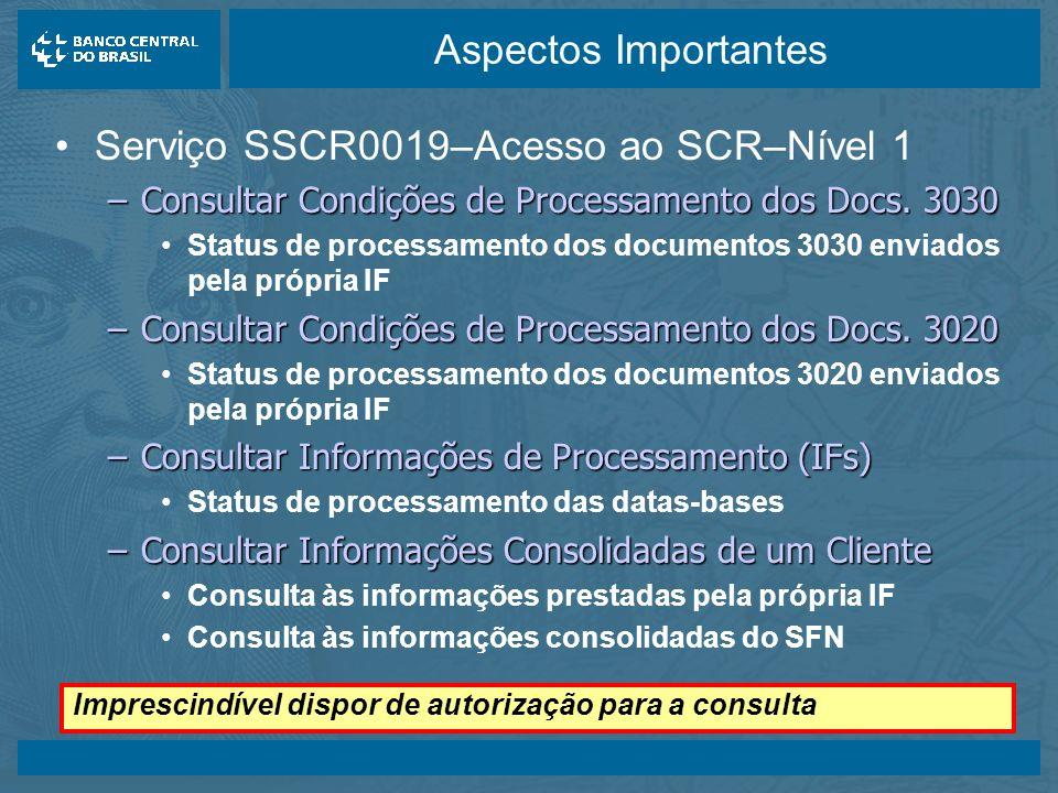 Serviço SSCR0019–Acesso ao SCR–Nível 1