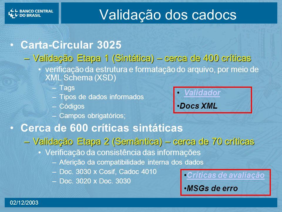 Validação dos cadocs Carta-Circular 3025