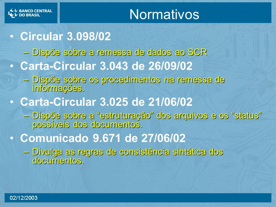 Normativos Circular 3.098/02 Carta-Circular 3.043 de 26/09/02