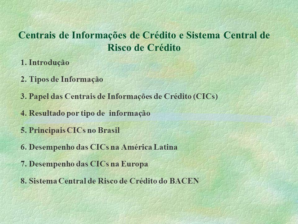 Centrais de Informações de Crédito e Sistema Central de Risco de Crédito