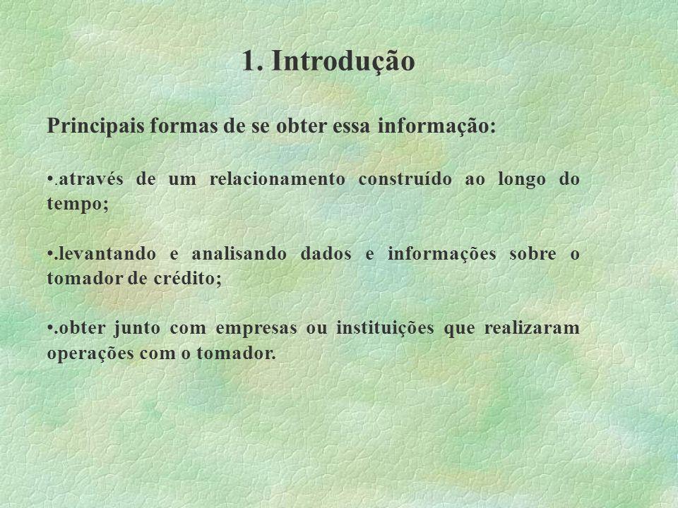 1. Introdução Principais formas de se obter essa informação: