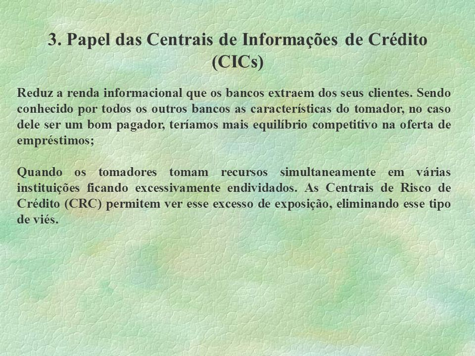 3. Papel das Centrais de Informações de Crédito (CICs)