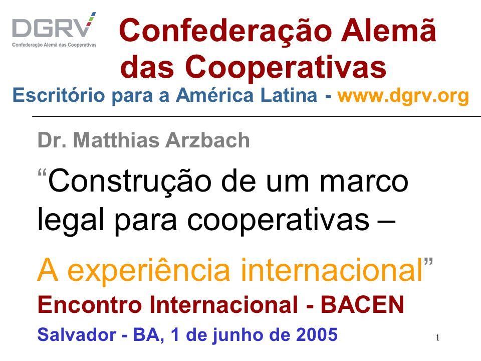Construção de um marco legal para cooperativas –