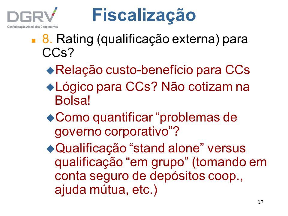 Fiscalização 8. Rating (qualificação externa) para CCs