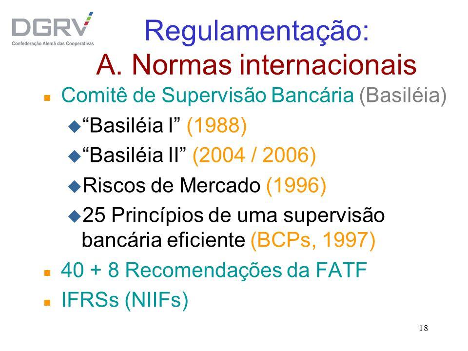 Regulamentação: A. Normas internacionais