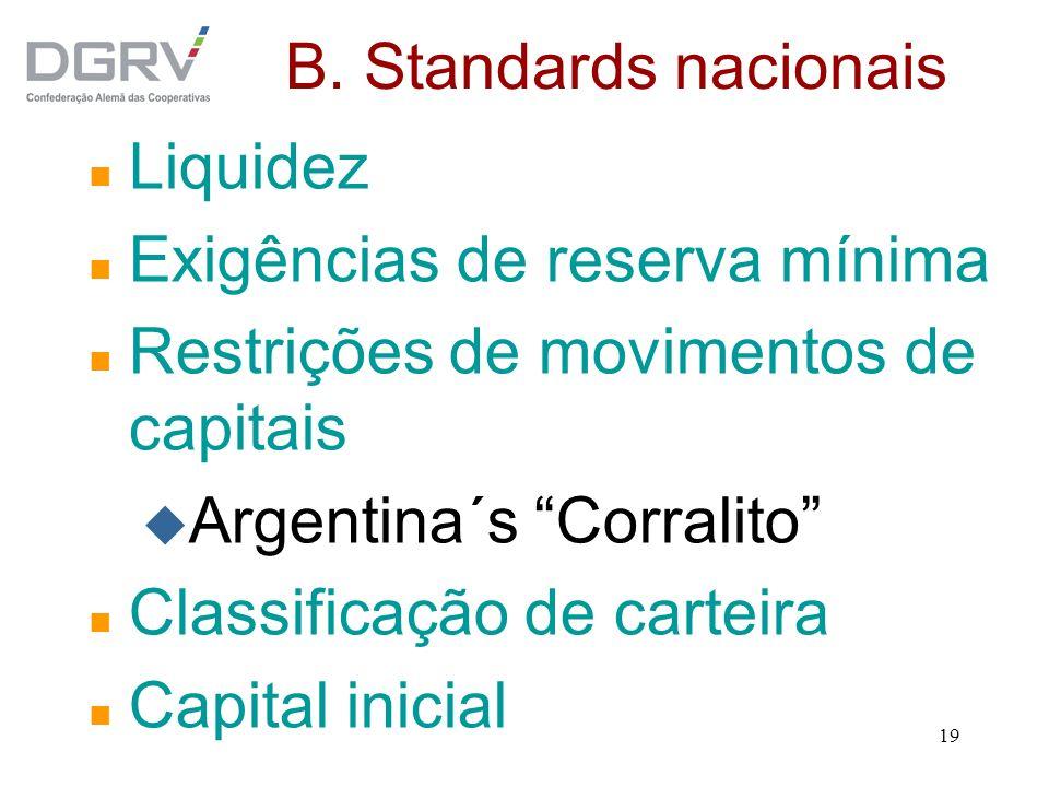 B. Standards nacionais Liquidez. Exigências de reserva mínima. Restrições de movimentos de capitais.