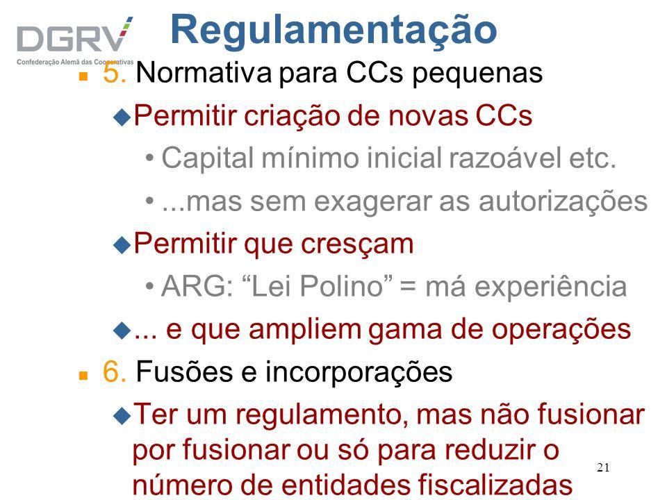 Regulamentação 5. Normativa para CCs pequenas