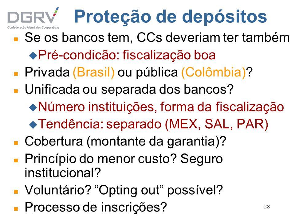 Proteção de depósitos Se os bancos tem, CCs deveriam ter também