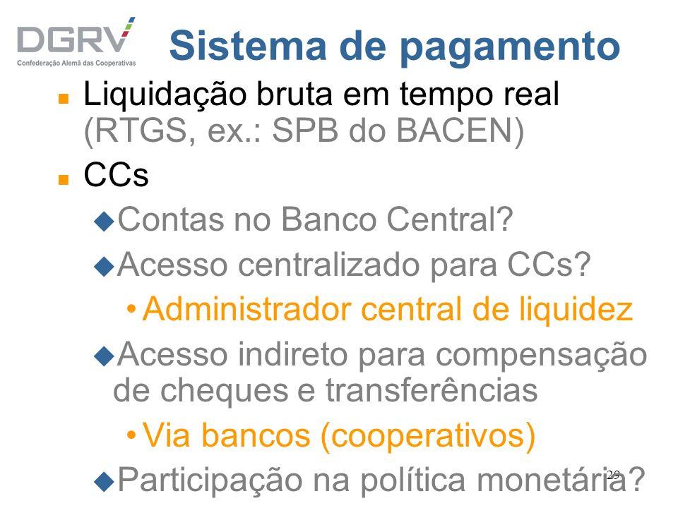 Sistema de pagamento Liquidação bruta em tempo real (RTGS, ex.: SPB do BACEN) CCs. Contas no Banco Central