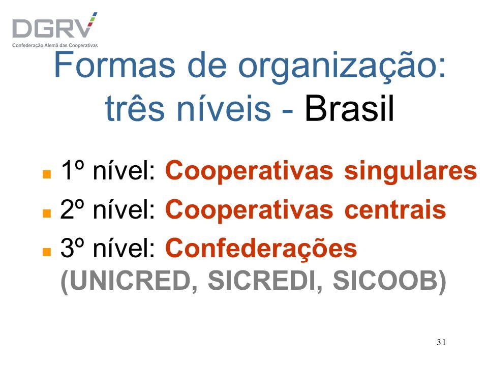 Formas de organização: três níveis - Brasil