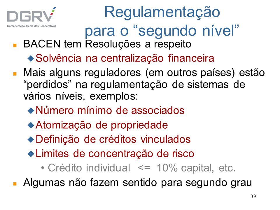 Regulamentação para o segundo nível
