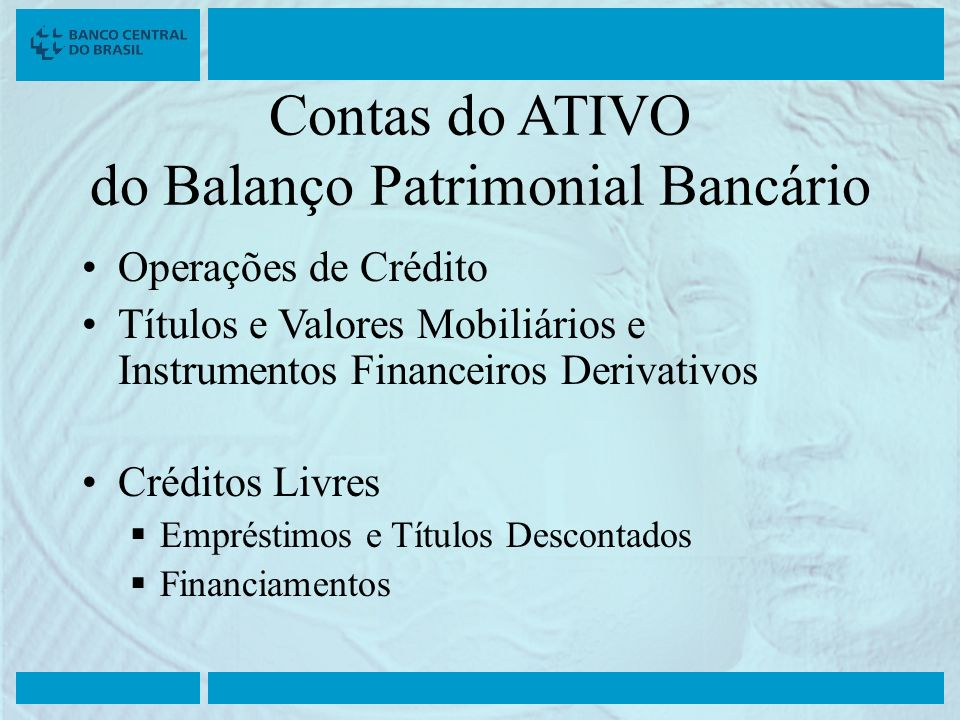 Contas do ATIVO do Balanço Patrimonial Bancário