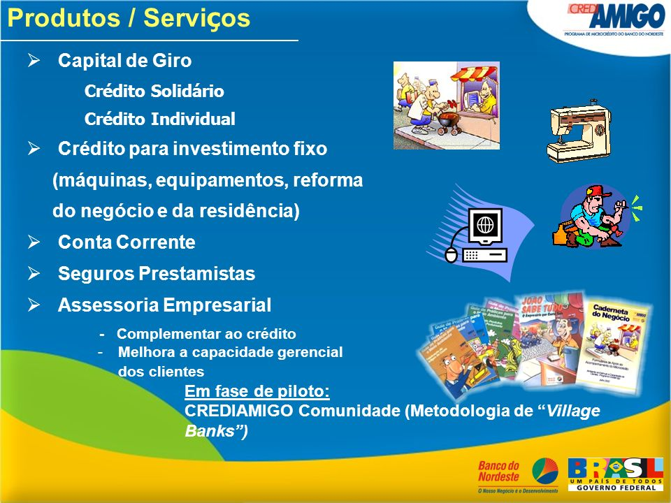 Produtos / Serviços Capital de Giro Crédito para investimento fixo