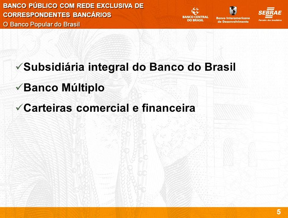 Subsidiária integral do Banco do Brasil Banco Múltiplo