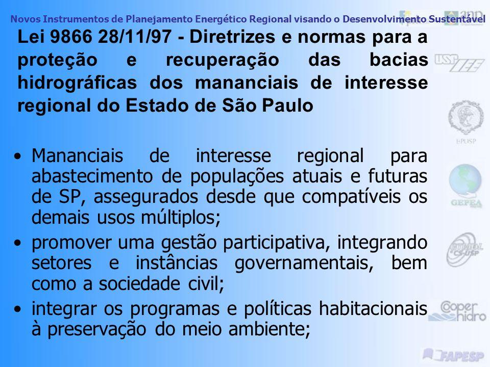 Lei 9866 28/11/97 - Diretrizes e normas para a proteção e recuperação das bacias hidrográficas dos mananciais de interesse regional do Estado de São Paulo