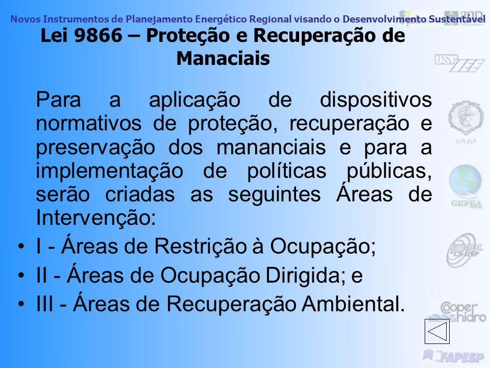 Lei 9866 – Proteção e Recuperação de Manaciais