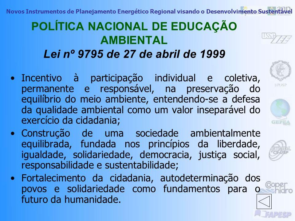 POLÍTICA NACIONAL DE EDUCAÇÃO AMBIENTAL Lei nº 9795 de 27 de abril de 1999