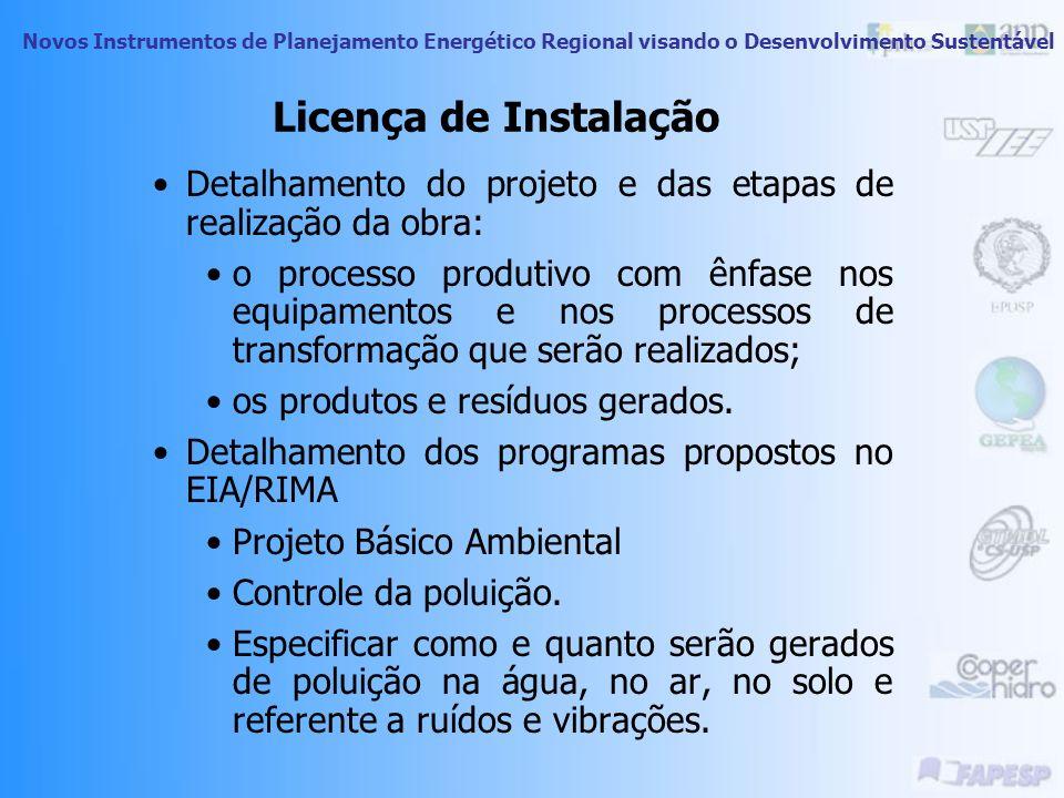 Licença de InstalaçãoDetalhamento do projeto e das etapas de realização da obra: