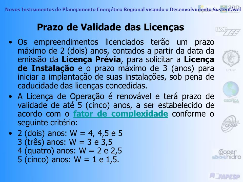Prazo de Validade das Licenças