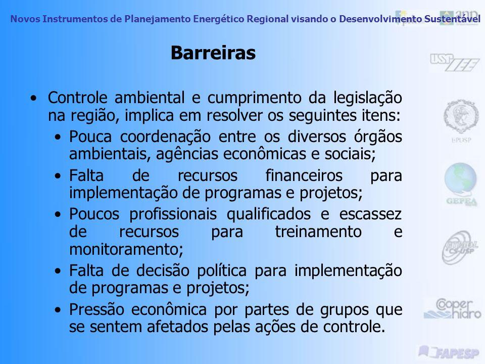 Barreiras Controle ambiental e cumprimento da legislação na região, implica em resolver os seguintes itens: